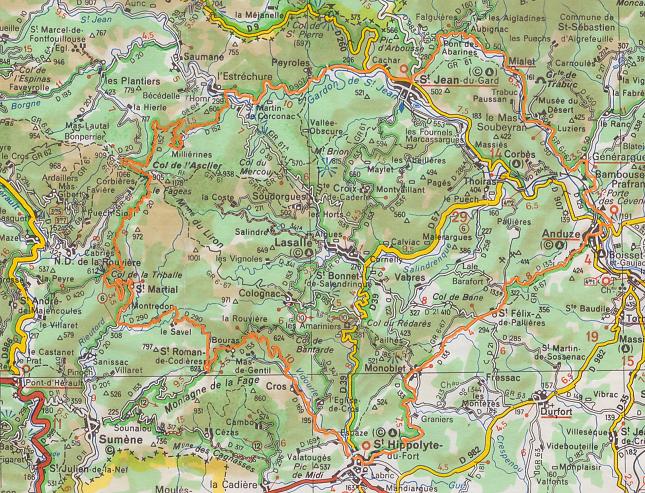 Cevennen Karte.Die Cevennen Radtour Am Südlichen Rand Der Cevennen